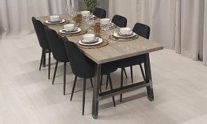 Rektangulärt matbord med stålben Alex, silvergrå bets, 230x83 cm