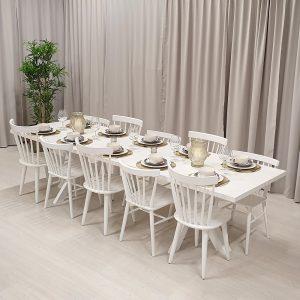 Rektangulärt matbord, 1 iläggsskiva, bets vit. 220x90 cm