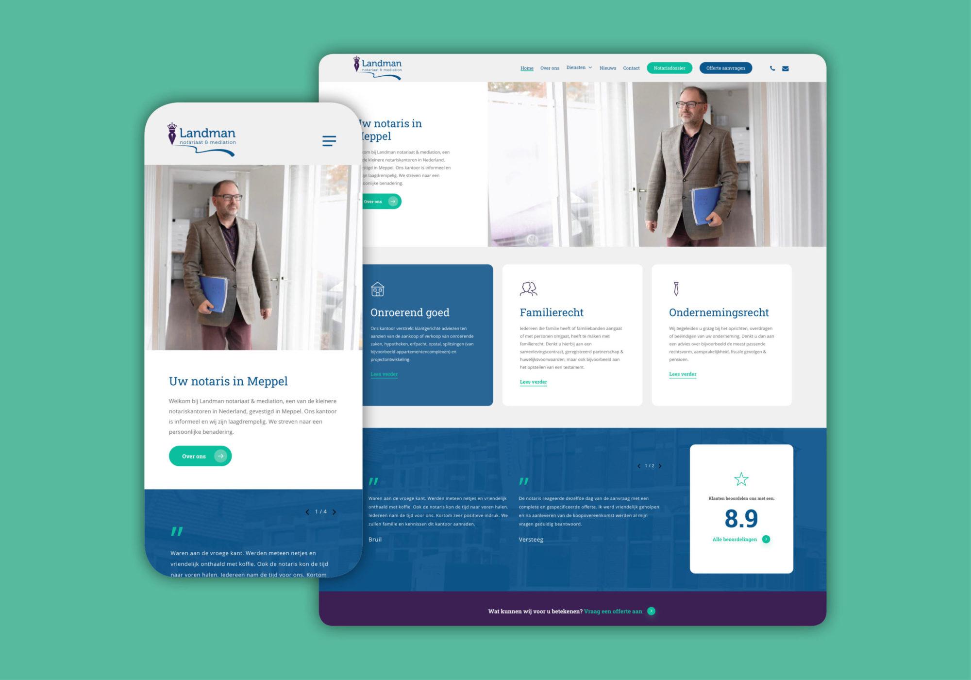 Nieuwe website Landman Meppel ontwerp
