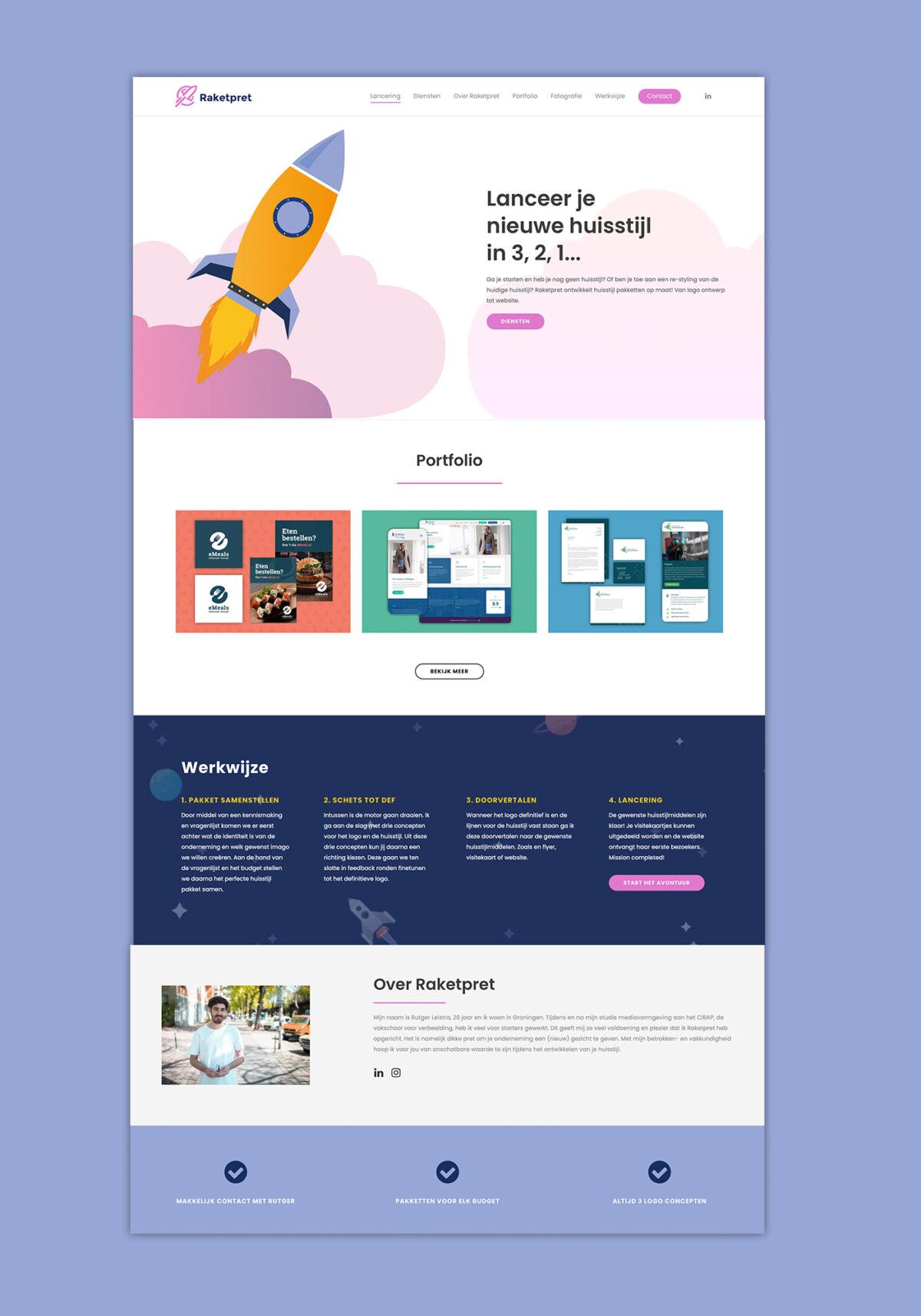 Huisstijl, webdesign Raketpret