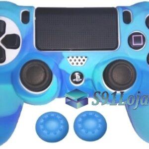 Capa Case Playstation 4 Camuflado Elite Azul + Grip Cores