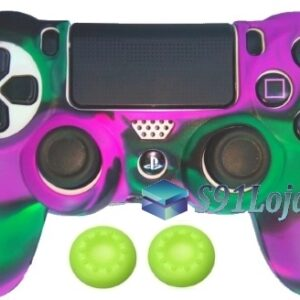 Capa Case Playstation 4 Camo Elite Roxo Verde + Grip Cores