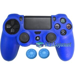 Capa Case Playstation 4 Sony PS4 Azul + Grips Cores