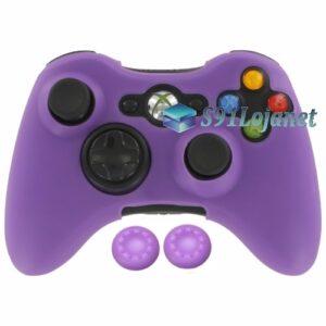 Capa Case Skin Xbox 360 Microsoft Silicone Cor Roxo + Grip