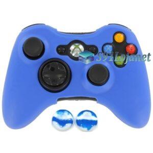 Capa Case Skin Xbox 360 Silicone Azul + Grip Bola