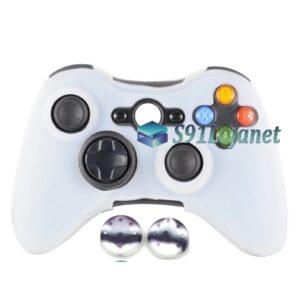 Capa Case Skin Xbox 360 Silicone Branco + Grip Camo