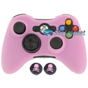 Capa Case Skin Xbox 360 Silicone Rosa + Grip Skull
