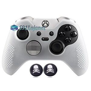 Capa Case Skin Xbox One Controle Elite Branco + Grip Skull