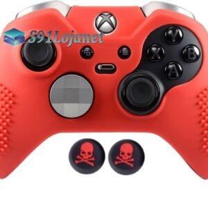 Capa Case Skin Xbox One Controle Elite Vermelho + Grip Skull