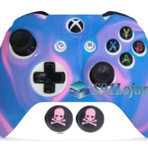 Capa Case Skin Xbox One S Camo Premio Rosa Azul + Grip Skull