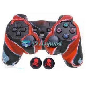 Capa Case Playstation PS3 Camuflado Vermelho + Grip Skull