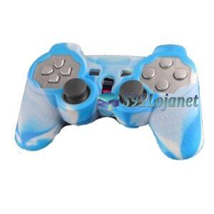 Capa Case Controle Playstation Ps2 CamoAzul Branco