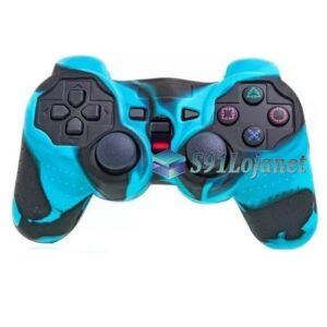 Capa Case Controle Playstation Ps2 Camo Azul Claro Preto