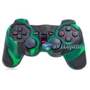 Capa Case Controle Playstation Ps2 Camo Verde Preto