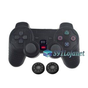 Capa Case Controle Playstation Ps2 Original Preto +1 Par Grips