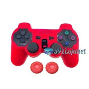 Capa Case Controle Playstation Ps2 Original Vermelho + Grips
