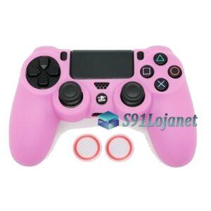 Capa Case Playstation 4 Sony PS4 Rosa + Grips Bola