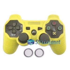 Capa Case Playstation PS3 Amarela + Grip Bolinha