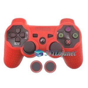 Capa Case Playstation PS3 Vermelha + Grip Bolinha