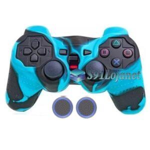Capa Case Playstation Ps2 Camo Azul Claro Preto + Grip Bola