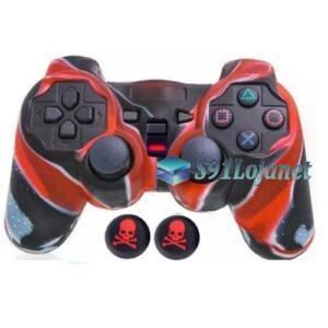 Capa Case Playstation Ps2 Camo Vermelho + Grip Skull