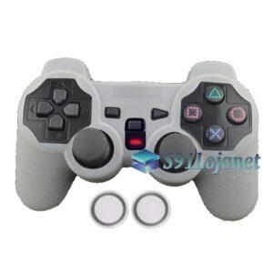 Capa Case Silicone Playstation 2 Ps2 Branco + Grip Bolinha