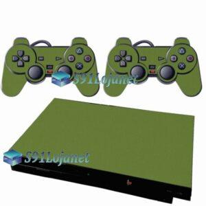 Skin Ps2 Slim Playstation 2 Adesivo Brilho Verde