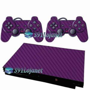 Skin Ps2 Slim Playstation 2 Adesivo Carbono Roxo