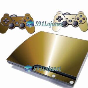 Skin Ps3 Slim Playstation 3 Slim Adesivo Metal Dourado