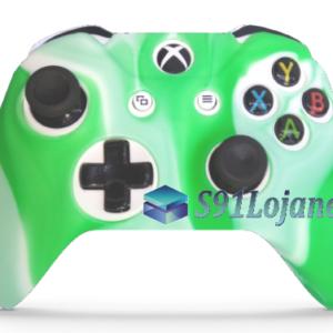 Capa Case Skin Xbox One S Camo Premio Branco Verde