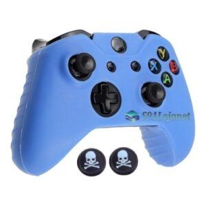 Capa Case Skin Xbox One X Microsoft Azul + Grip Skull