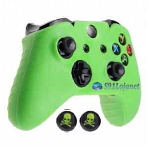 Capa Case Skin Xbox One X Microsoft Verde + Grip Skull