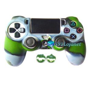 Capa Case Playstation 4 PS4 Camo Verde Cinza + Grip Cam