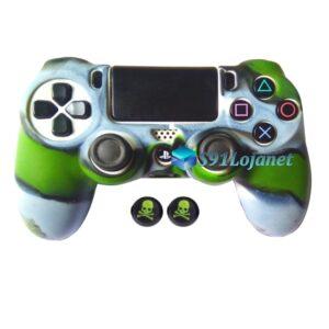 Capa Case Playstation 4 PS4 Camo Verde Cinza + Grip Skull