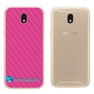 Galaxy J5 Pro Adesivo Skin Traseiro Carbono Rosa
