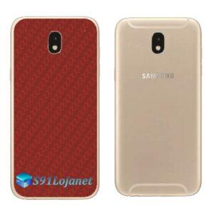 Galaxy J5 Pro Adesivo Skin Traseiro Carbono Vermelho