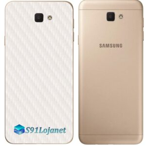 Galaxy J7 Prime Adesivo Skin Traseiro Carbono Branco