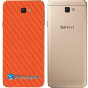 Galaxy J7 Prime Adesivo Skin Traseiro Carbono Laranja