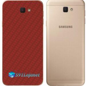 Galaxy J7 Prime Adesivo Skin Traseiro Carbono Vermelho