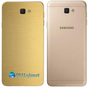 Galaxy J7 Prime Adesivo Skin Traseiro Metal Gold