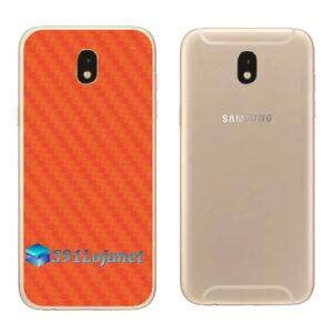 Galaxy J7 Pro Adesivo Skin Traseiro Carbono Laranja