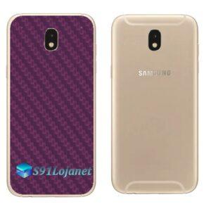 Galaxy J7 Pro Adesivo Skin Traseiro Carbono Roxo