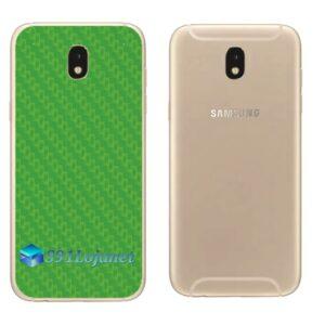 Galaxy J7 Pro Adesivo Skin Traseiro Carbono Verde