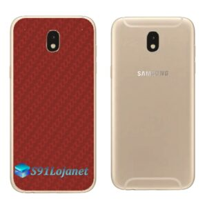 Galaxy J7 Pro Adesivo Skin Traseiro Carbono Vermelho