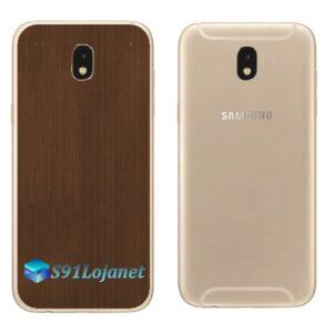 Galaxy J7 Pro Adesivo Skin Traseiro Metal Bronze