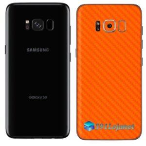 Galaxy S8 Adesivo Skin Carbono Laranja