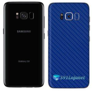 Galaxy S8 Plus Adesivo Skin Carbono Azul