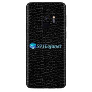 Galaxy S9 Adesivo Skin Couro Negro Preto