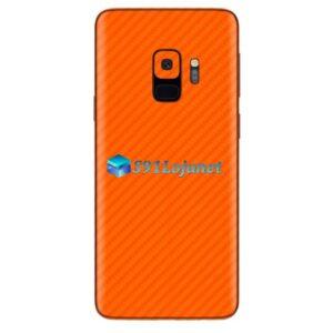 Galaxy S9 Plus Adesivo Skin Carbono Laranja