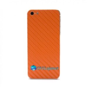Iphone 5 5c 5s Skin Adesivo Sticker Carbono Laranja